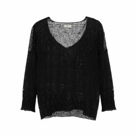 Crea Concept Black Loose-knit Linen-blend Jumper