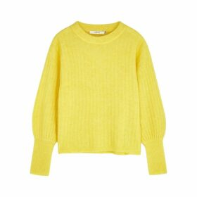 Gestuz Yellow Ribbed-knit Jumper