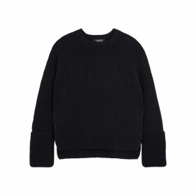 'S Max Mara Bugia Navy Ribbed Cotton-blend Jumper