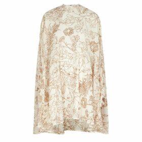 Paula Knorr Cream Glittered Chiffon Mini Dress