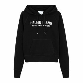 Helmut Lang Black Logo Hooded Cotton Sweatshirt