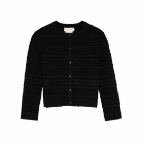 Alexander McQueen Black Textured-knit Cardigan