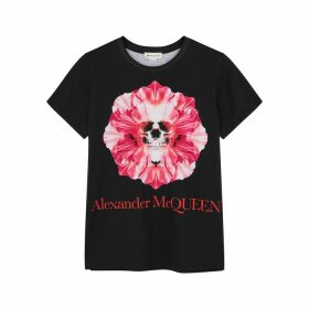 Alexander McQueen Black Printed Cotton T-shirt