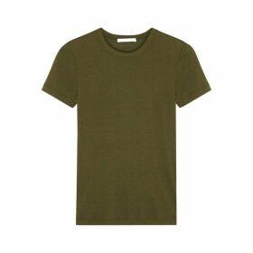 Helmut Lang Army Green Silk Jersey T-shirt