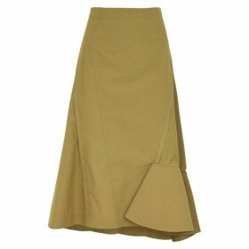 3.1 Phillip Lim Olive Ruffle-trimmed Cotton-blend Skirt