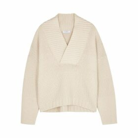 Equipment Jaelyn Ivory Textured-knit Wool Jumper