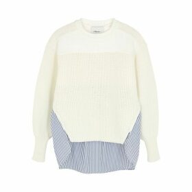 3.1 Phillip Lim White Panelled Cotton-blend Jumper