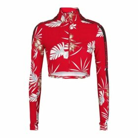 Paco Rabanne Body Red Floral-print Cropped Jersey Track Top