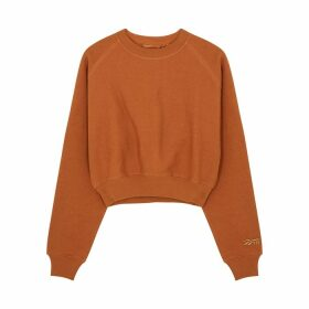 Reebok X Victoria Beckham Brown Cropped Cotton Sweatshirt
