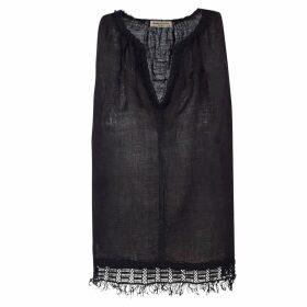 STUDIO MYR - One-Of-A-Kind Three-Quarter Sleeve Knitted Cotton Jumper Denim Golden Blue