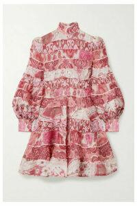 Zimmermann - Wavelength Paneled Printed Linen And Silk-blend Mini Dress - Pink