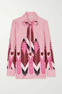 Valentino - Pussy-bow Printed Silk-twill Blouse - Pink