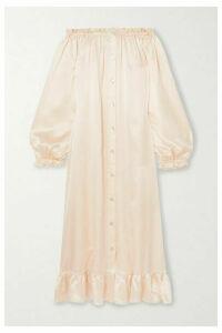 Sleeper - Love Me Tender Off-the-shoulder Ruffled Silk-satin Midi Dress - Cream