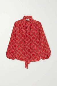 RIXO - Moss Pussy-bow Printed Silk Blouse - Red