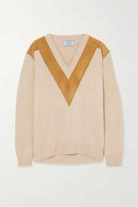 Prada - Suede-trimmed Cashmere Sweater - Beige