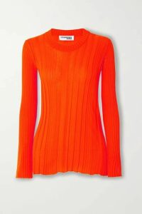 COURREGES - Ribbed Cotton Sweater - Orange