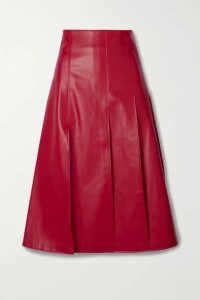 A.W.A.K.E. MODE - Pleated Faux Leather Midi Skirt - Red