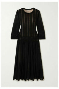 Agnona - Pleated Open-knit Cotton-blend Midi Dress - Black