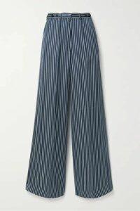 Rokh - Striped Satin Wide-leg Pants - Navy
