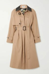 Loewe - Leather-trimmed Cotton And Silk-blend Trench Coat - Beige