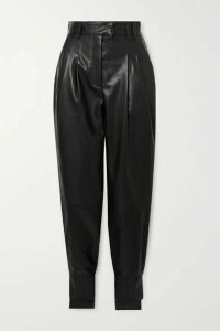 Proenza Schouler - Tie-detailed Pleated Leather Tapered Pants - Black