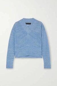 The Elder Statesman - Flaco Mélange Cashmere Sweater - Blue