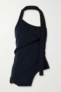 Monse - Upside Down Layered Merino Wool Halterneck Top - Midnight blue
