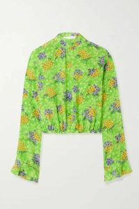 Les Rêveries - Open-back Floral-print Silk-crepe Blouse - Green