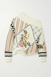 Monse - Upside Down Patchwork Embroidered Intarsia Cotton Sweater - Cream