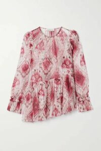 Zimmermann - Asymmetric Ruffled Printed Silk-crepon Blouse - Magenta