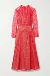 Self-Portrait - Crochet-trimmed Paneled Corded Lace Midi Dress - Pink