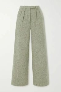 ALEXACHUNG - Pleated Wool-blend Wide-leg Pants - Sage green