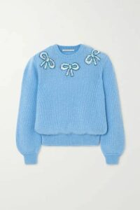 Alessandra Rich - Sequin-embellished Mohair-blend Sweater - Blue
