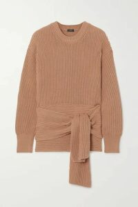 Joseph - Cote Anglaise Tie-detailed Ribbed Cotton Sweater - Brown