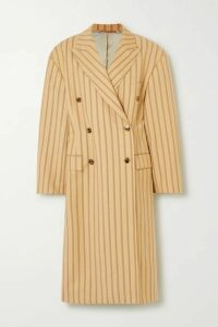 Acne Studios - Oversized Pinstriped Grain De Poudre Wool Coat - Yellow
