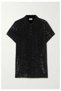 SAINT LAURENT - Sequined Cotton-blend Jersey Polo Shirt - Black