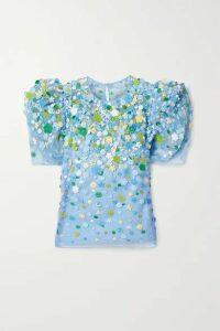 Carolina Herrera - Embroidered Embellished Twill-trimmed Silk-organza Top - Light blue