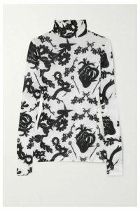 MINJUKIM - Printed Stretch-jersey Turtleneck Top - White