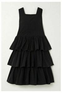 MINJUKIM - Cancan Ruffled Taffeta Midi Dress - Black