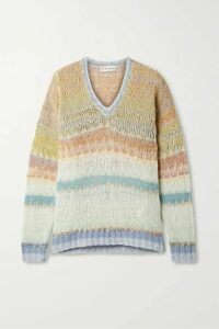 Etro - Striped Open-knit Wool-blend Sweater - Peach