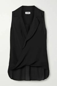 L'Agence - Freja Wrap-effect Silk-georgette Blouse - Black