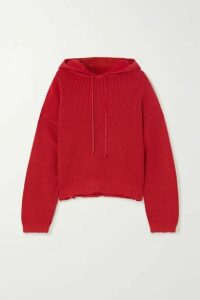 RtA - Distressed Cotton Hoodie - Red