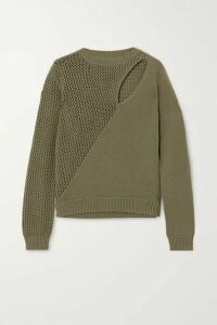 RtA - Teagan Cutout Paneled Cotton Sweater - Army green