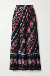 Erdem - Nolana Pleated Floral-print Satin-jacquard Midi Skirt - Black