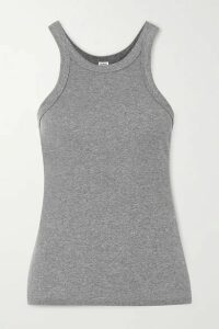 Totême - Espera Ribbed Mélange Stretch-organic Cotton-jersey Tank - Gray