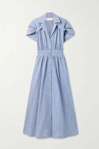 Rosie Assoulin - By Any Other Name Striped Textured Stretch-cotton Shirt Dress - Blue