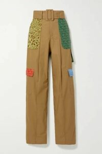 Rosie Assoulin - Belted Jacquard-trimmed Cotton Wide-leg Pants - Camel