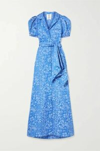 Rosie Assoulin - Belted Floral-jacquard Maxi Dress - Blue