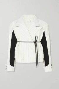 Sacai - Belted Paneled Pinstriped Wool-blend And Shell Jacket - Off-white