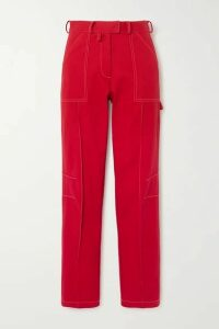 Christopher John Rogers - Cotton-twill Straight-leg Cargo Pants - Red